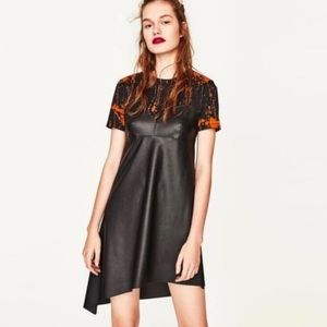 NWT ZARA Trafaluc paint splattered leather dress